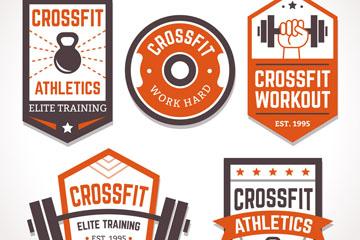 5款创意混合健身标签矢量素材