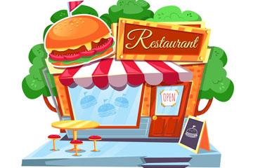 卡通汉堡包快餐店矢量素材
