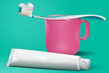 创意牙膏和牙刷矢量素材