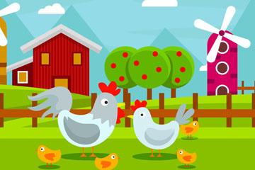 卡通养鸡场鸡家族矢量素材