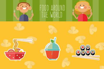 创意6款食物和2个人物矢量素材