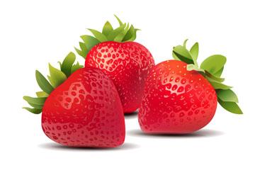 3个红色新鲜草莓矢量素材