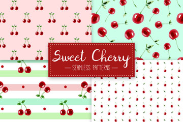 4款红色樱桃无缝背景矢量素材