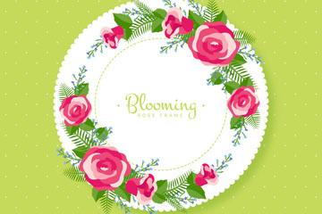 红色玫瑰花框架矢量素材