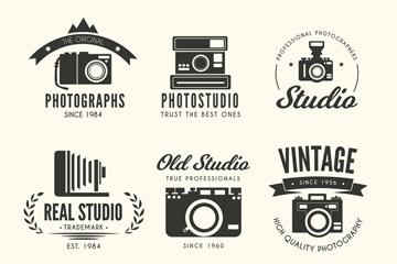 6款黑色复古照相机标志矢量素材