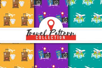 3款创意旅行元素无缝背景矢量图