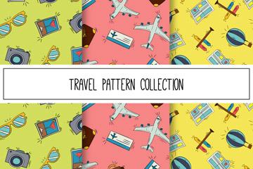 3款彩绘旅行无缝背景矢量图