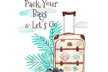 彩绘旅行箱和棕榈树叶矢量素材