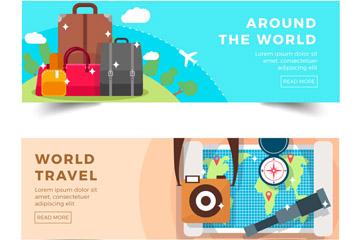 2款创意环球旅行banner矢量素材