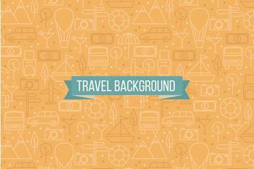 创意旅行元素无缝背景矢量素材