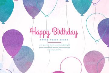 彩绘紫色生日气球贺卡矢量素材