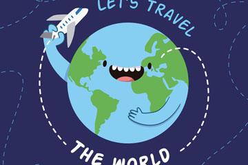 卡通玩飞机的笑脸地球矢量素材