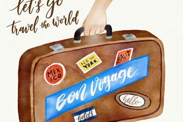 水彩绘手提旅行箱的手臂矢量素材