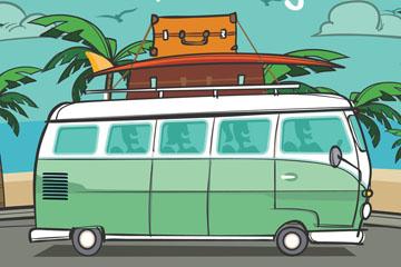 彩绘海边度假巴士矢量素材