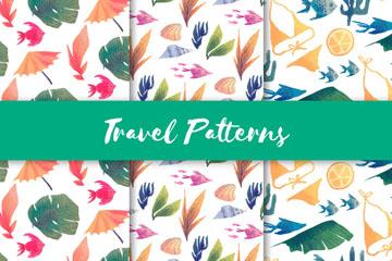 3款水彩绘旅行花草无缝背景矢量图