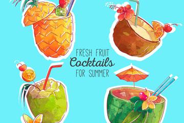 4款彩绘新鲜水果鸡尾酒矢量素材