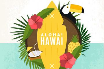 精致夏威夷元素标签矢量素材
