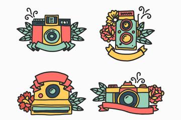 4款彩色照相机和花卉标志矢量图