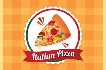 可爱意大利三角披萨矢量素材