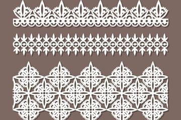 4款白色蕾丝花纹花边设计矢量素