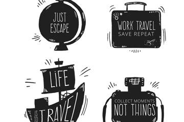 4款黑色旅行元素隽语矢量素材