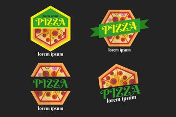 6款扁平化披萨标签设计矢量素材
