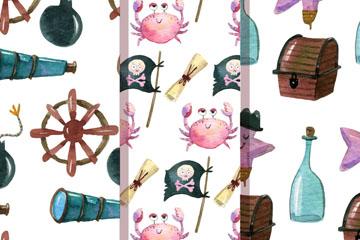 3款可爱海盗元素无缝背景矢量图