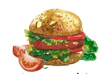 水彩绘汉堡包和番茄矢量素材