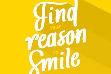 创意找到笑的理由艺术字矢量图