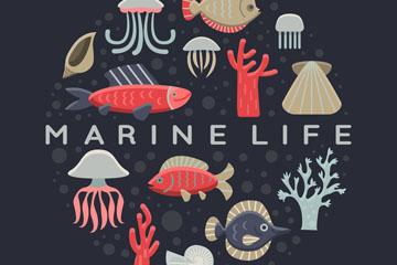 14个卡通海洋生物设计矢量素材