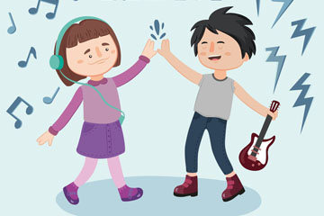 卡通青年节音乐男孩和女孩矢量素