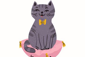 可爱笑脸猫咪设计矢量素材