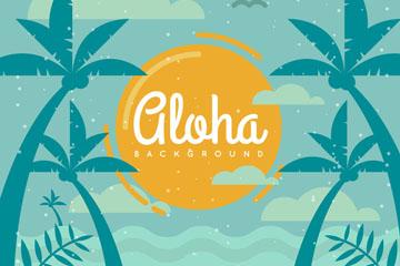 创意夏威夷岛屿椰树剪影矢量素材