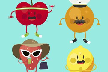 4款卡通表情水果设计矢量素材