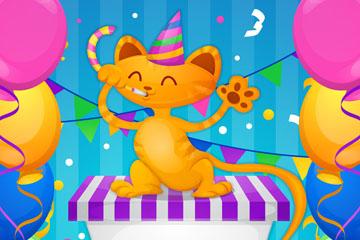 卡通生日礼盒上的猫咪矢量素材