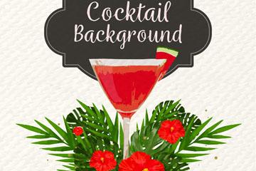 彩绘红色鸡尾酒和扶桑花矢量图