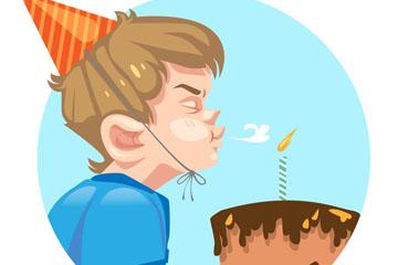 卡通吹蛋糕蜡烛男孩侧脸矢量素材
