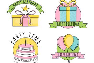 4款手绘生日标签矢量素材
