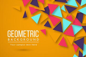 彩色质感三角形背景设计矢量素材