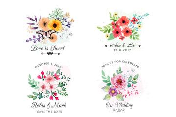 6款彩色婚礼花卉矢量素材