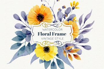 水彩绘复古花卉框架矢量素材