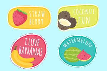 6款彩色日常水果贴纸矢量素材