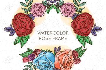 水彩绘玫瑰花环矢量素材