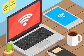 创意立体书桌上的电脑矢量素材