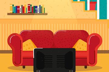 创意复式住宅客厅设计矢量素材