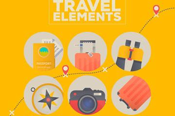 6款圆形旅行元素矢量素材