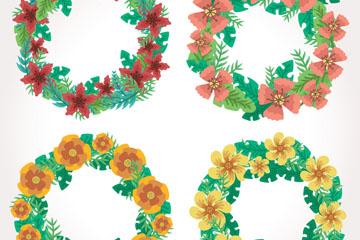 4款彩色花环设计矢量素材