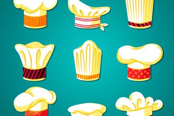 9款白色质感花纹厨师帽矢量素材