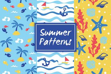 3款彩色夏季元素无缝背景矢量素材