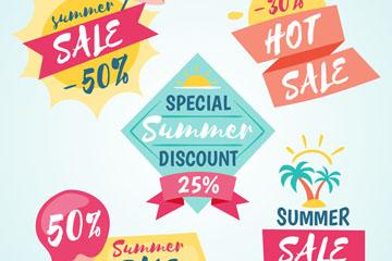 5款彩色夏季促销标签矢量素材